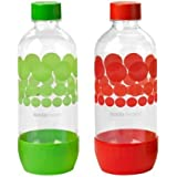 Sodastream 1l Carbonating Bottles Red/Green (Twin Pack)