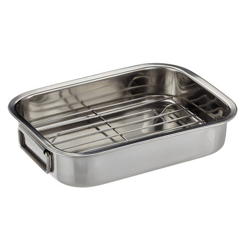 Kitchen Craft Roasting Pan with Rack, Stainless Steel