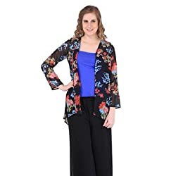New Sierra Womens Georgette floral print full sleeve front open Red shrug