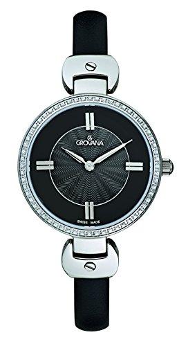 Grovana para mujer reloj infantil de cuarzo con esfera analógica y negro correa de piel 4481,7537