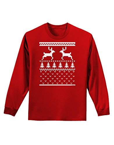 Ugly Christmas Sweater Reindeer Pattern Adult Long Sleeve Dark T-Shirt - Red - 3Xl