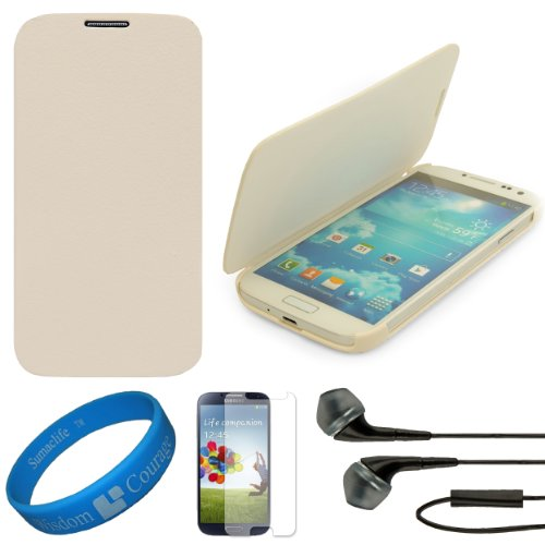 Vg Premium Faux Leather Flip Carrying Case W/ Sleeve Mode Function (White) For Samsung Galaxy S4 / S Iv Android Smart Phones + Clear Anti Glare Screen Protector Strip W/ Cleaning Cloth + Black Vg Stereo Headphones With Windscreen Mic & Silicone Ear Tips +