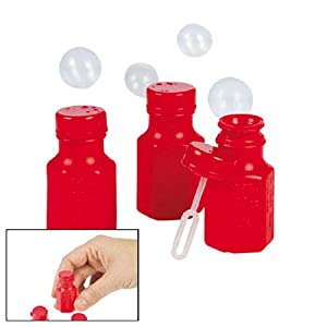 Fun Express Mini Hexagon Red Bubble Bottles (4 dz