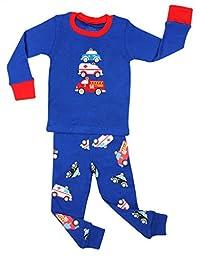 Elowel Kid\'s Emergency Vehicle Pajama Set, Multi, 18-24 Months