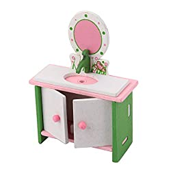 Magideal Dollhouse Furniture Wooden Toy Kids Bath Room Set