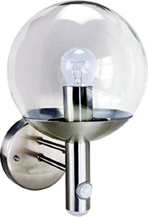 Byron Elro RVS46LA E27 Bulb Stainless Steel Wall Light with PIR Motion Detector and LED Twilight,25w