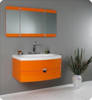 Fresca Energia Orange Modern Bathroom Vanity w/ Three Panel Folding Mirror