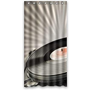 custom 36 x 72 inches vinyl record turntable shower curtain waterproof polyester. Black Bedroom Furniture Sets. Home Design Ideas