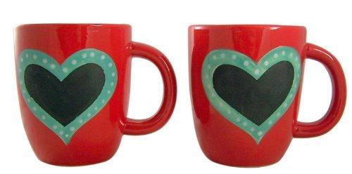 Romantic Gift Set Of 2 Red Ceramic Mug With Heart Shape Writeable Chalkboard Finish