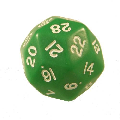 Green Opaque Triantakohedron 30 Sided Dice