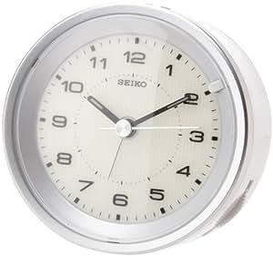 Seiko Bedside Alarm Clock Silver Tone Metallic Case