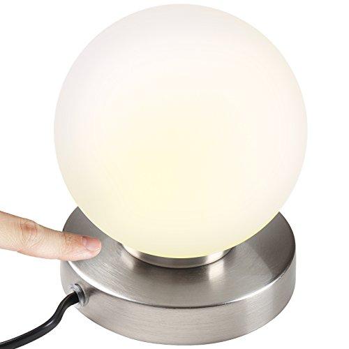 Jago-Kugellampe-Tischleuchte-Nachttischlampe-TouchMe-Dimmer-aus-weiem-Glas-mit-3-verschiedenen-Lichtstrken-einzeln-oder-als-2er-Set