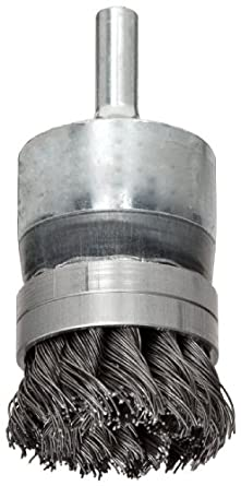 Weiler Wire End Brush, Banded, Round Shank, Steel, Partial Twist Knotted