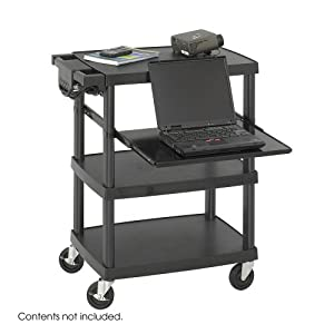 "Safco SAF8929BL Multimedia Projector Cart 4-Shelf 27-3/4""w x 18-3/4"" x 34-3/4"", Black"
