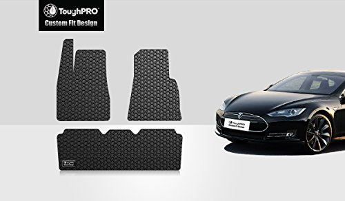 ToughPRO Tesla Model S Floor Mats Set - All Weather - Heavy Duty - Black Rubber - 2016-2017 (Tesla Model S compare prices)