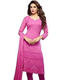 Fliponn Pink Colored Chiffon With Karachi Work Embroidery Party Wear Semi-Stitched Salwar Suit-FNJ343DL1473