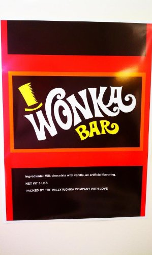 World's Largest Willy Wonka Bar Wrapper Poster & Two 10x6 Golden Tickets (Willy Wonka Bar compare prices)