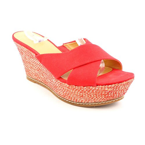 Nine West Havaha Womens Size 5.5 Red Textile Wedge Sandals Shoes front-48535