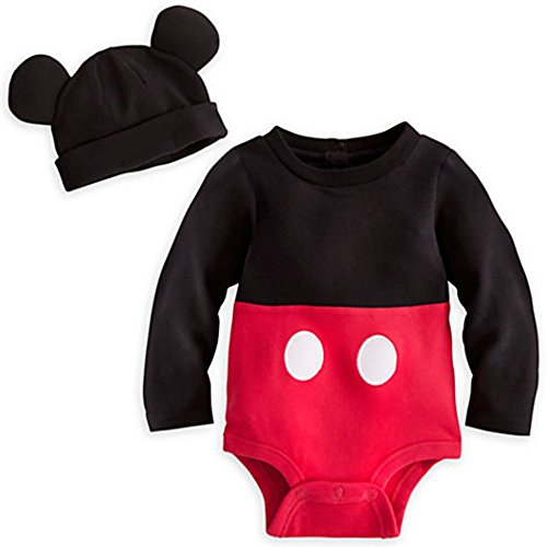 Disney Store Mickey Mouse Costume Bodysuit Hoodie Hooded Size 12 - 18 Months