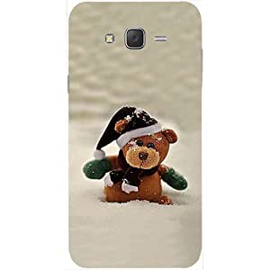 Casotec Snow Teddy Bear Design Hard Back Case Cover for Samsung Galaxy J2