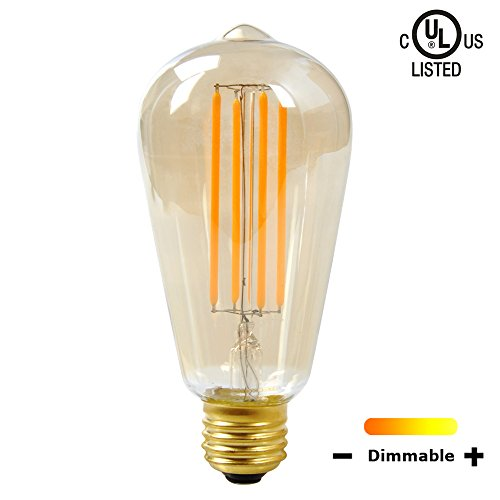 SUNMEG ST64 5W Dimmable Vintage LED Filament Bulb Household Light Lamp, Equivalent to 50w Incandescent Bulbs, E26 Medium Base, Warm White (2200K), 120VAC, 360 Degree Beam Angle, Certified by UL