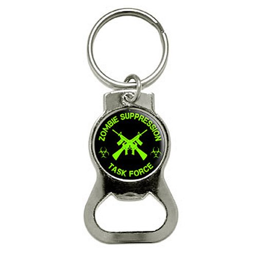 Graphics and More Zombie Suppression Task Force - AK-47 - Biohazard - Green Bottle Cap Opener Keychain (KB0629) (Ak 47 Bottle Opener compare prices)