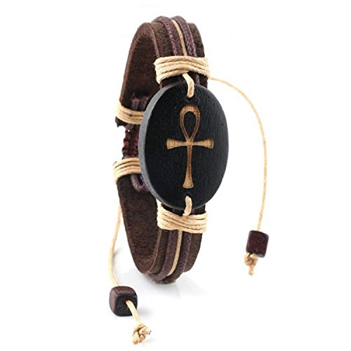 Adjustable Genuine Leather Bracelet - Egyptian Ankh Symbol
