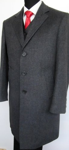 MUGA mens Casmere Long Coat, Anthracite/Darkgrey, Size 54R (EU 64)