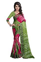 Green And Pink Heavy Bandhani Saree