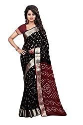 Black Maroon Coloured Bandhani Cotton Saree