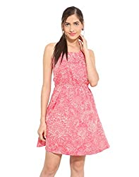 Pink floral crepe halter dress X-Small