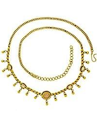 Anuradha Art Antique Golden Finish Sparkling With Stone & Golden Bead Waist Chain/Belly Chain For Women/Girls