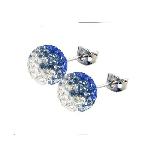 Tresor Paris Armix Blue And White Crystal Earrings 10mm