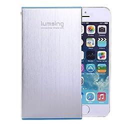 Lumsing® 6000mAh モバイルバッテリー 2USB出力ポート同時充電 iPhone5S 5C 5 4S/iPad Air/Galaxy/Xperia/Android/各種マルチデバイス対応 日本語説明書付 (シルバー)