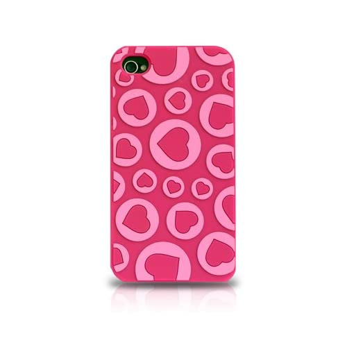 Apple iPhone 4 Hot Pink with Love Hearts Valentine Embossed Design High Grade Silicone Skin Snap On Protective Cover Case Cell Phone + Free Additional High Quality Screen Shield Protector