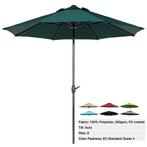 Abba Patio 9 Ft Outdoor Patio Table Aluminum Umbrella with Auto Tilt and Crank, Alu. 8 Ribs, Water Resistant PU Coated Polyester, Dark Green