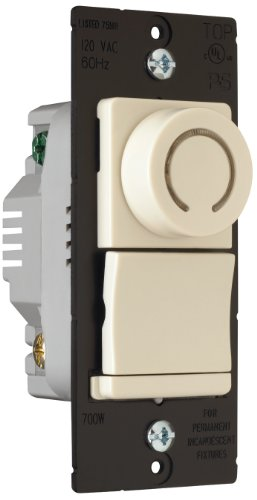 Pass & Seymour Dr703Plav 700-Watt Three Way Decorator Rotary Switch With Pilot Light, Almond
