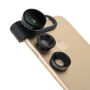 [Upgraded Fisheye Lens]VicTsing 3 in 1 Clip-On 180 Degree Supreme Fisheye II +0.65x Wide Angle II + Macro Lens Camera Photo Kit For Apple iPhone Samsung and Android Devices-Black