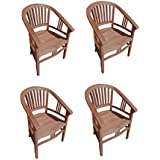 4er Spar-Set Gartenstuhl Sessel aus Teak Holz mit Armlehnen Moreno