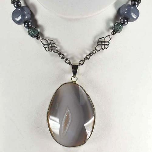 Natural Agate Pendant & Jade Chain Necklace N2_0422_05
