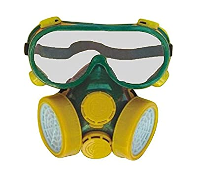 SMARSTAR Dual Cartridge Industrial Gas Chemical Anti-Dust Paint Respirator Mask+Glasses/Goggles Set