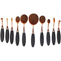 Yoseng Foundation Oval Makeup Concealer Powder Brush Set, Rose Golden