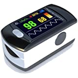 Contec Full-Colour OLED USB Finger Pulse Oximeter & Heart Rate Monitor w/ 24hr Memory, Lanyard, 3pin UK USB Adapter & Full Analysis Software