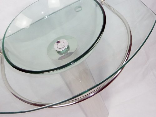 Brand New Round glass bathroom basin set with chrome pedestal, Free waste pop up and Tap