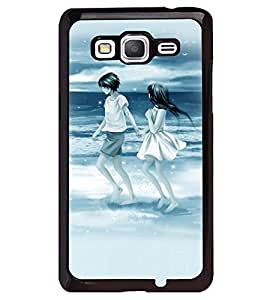 Printvisa People On The Beach With Blue Background Back Case Cover for Samsung Galaxy Grand Prime G530h