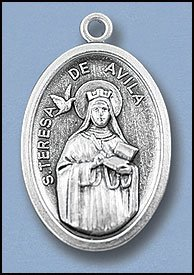 100 Piece Pack, Patron Saints Medals, St. Teresa of Avilia, Italian Oxidized Silver.
