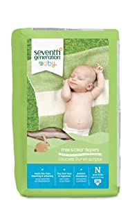 Seventh Generation Free and Clear, Unbleached Baby Diapers, Newborn, 144 Count, Packaging May Vary