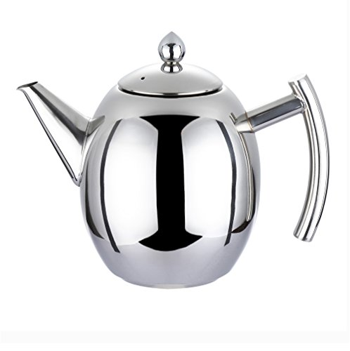 Coffee Tea Pot - WeHome 34oz Stainless Steel Teapot Kettle with Infuser Filter,Best Polished Espresso Coffee Pouring Pot for Home Kitchen,Hotel,Restaurant and Office,1000ML (Restaurant Coffee Pot compare prices)