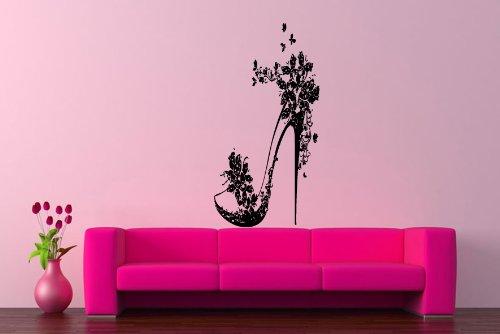 Room Wall Decor Vinyl Sticker Room Decal Art Design High Heel Shoe Butterfly Flowers Hot 855