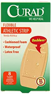 Curad Extra Large Athletic Strips Self-Adhesive-Bandages, 2 Inch x 4 Inch, 8 Count (Pack of 6)